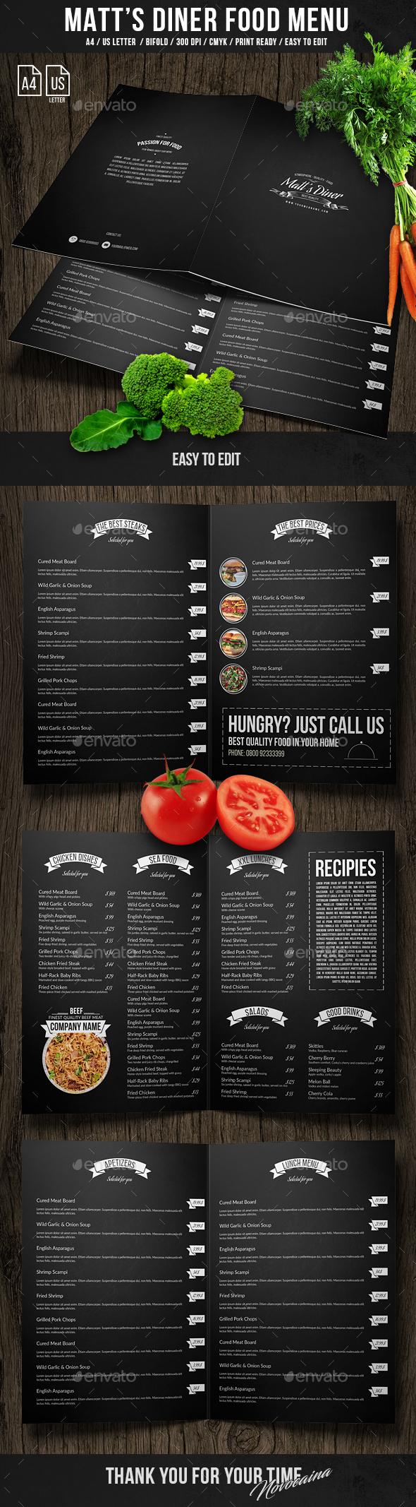 Matt's Diner Bifold Menu A4 and US Letter - Food Menus Print Templates