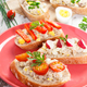 Sandwiches or baguette with mackerel or tuna fish paste on plate, healthy nutrition concept - PhotoDune Item for Sale