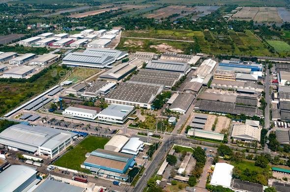Industrial estate factories manufactures and housing projects - Stock Photo - Images