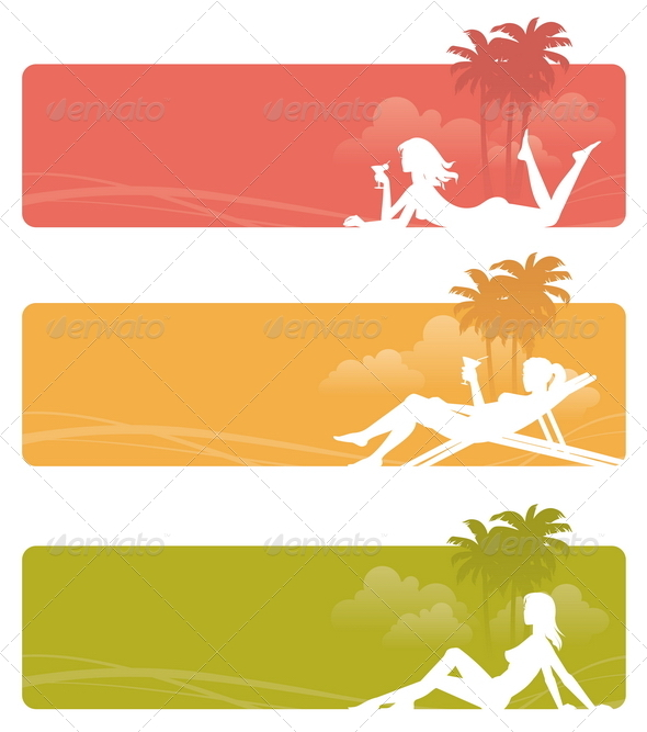 Banners with Relaxing Girls - Travel Conceptual