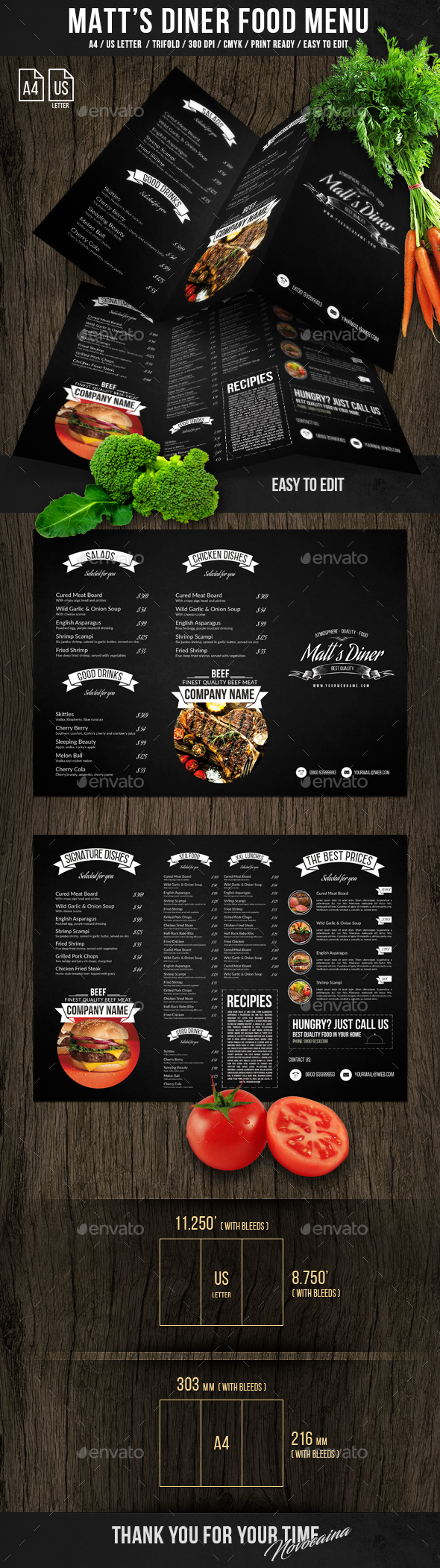 Matt's Diner Trifold A4 and US Letter Menu - Food Menus Print Templates