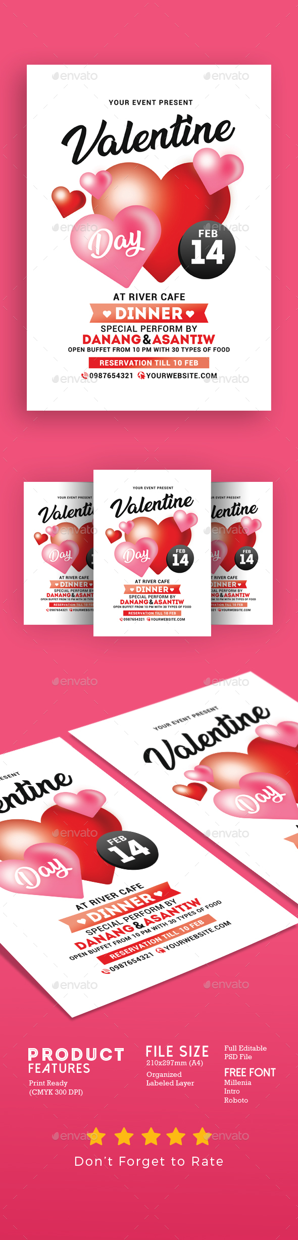 Valentine Day Dinner Flyer - Events Flyers