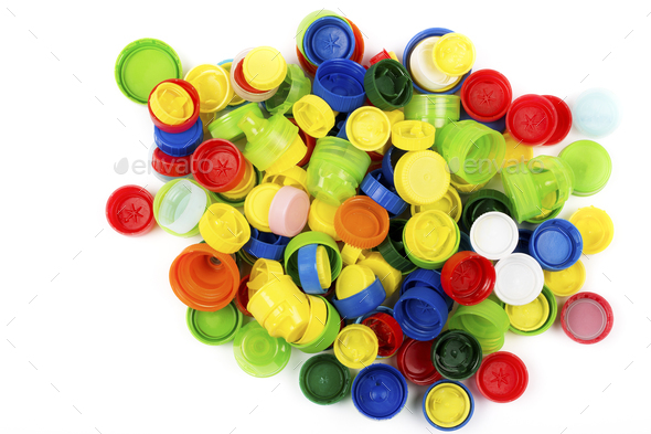 Plastic corks from the bottles  - Stock Photo - Images