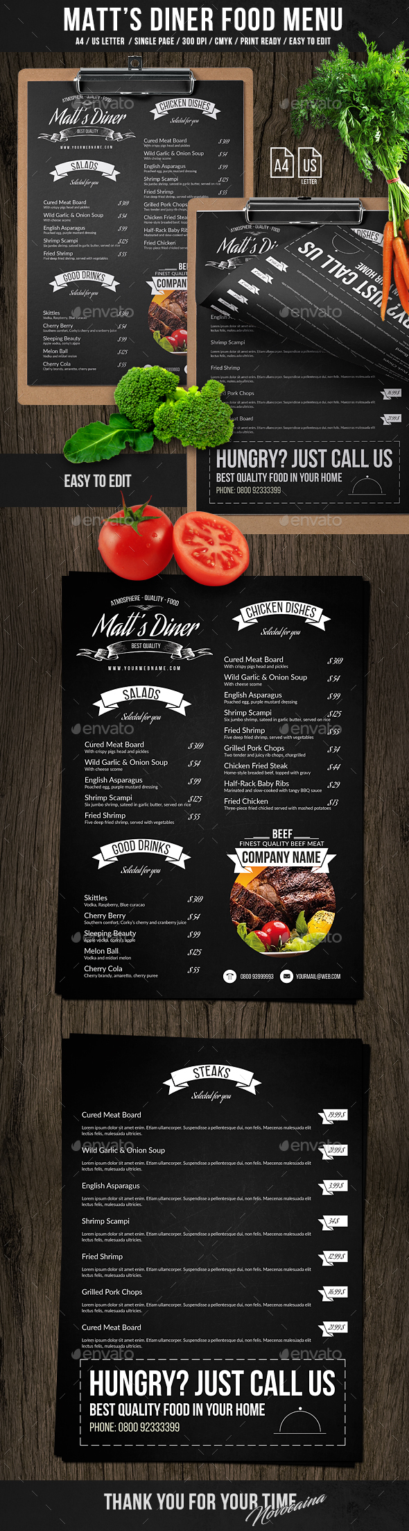 Matt's Diner Single Page A4 and US Letter Menu - Food Menus Print Templates