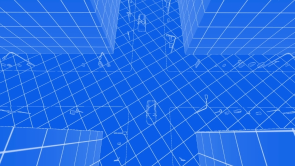 VideoHive Abstract Blueprint of Contemporary Buildings and Traffic Cars 21245601