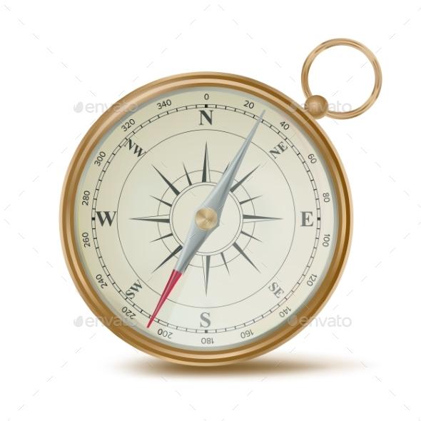 Realistic Compass Vector. Template Design Element - Objects Vectors