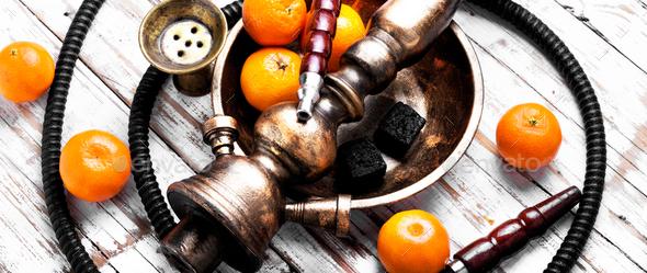 Nargile with mandarin - Stock Photo - Images
