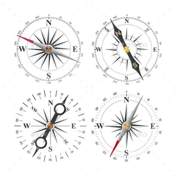 Compass Set Vector. Different Navigation Sign - Objects Vectors