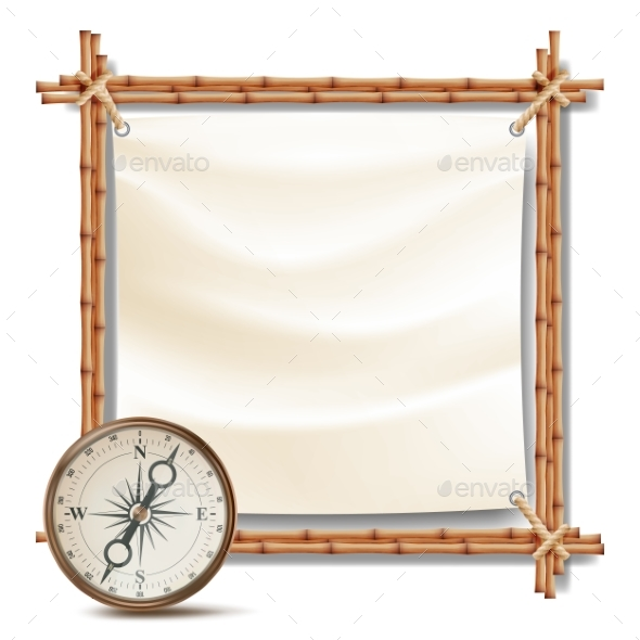 Bamboo Frame with Compass Vector - Borders Decorative