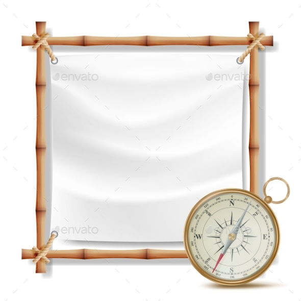 Bamboo Frame And Metal Compass Vector. Summer - Objects Vectors