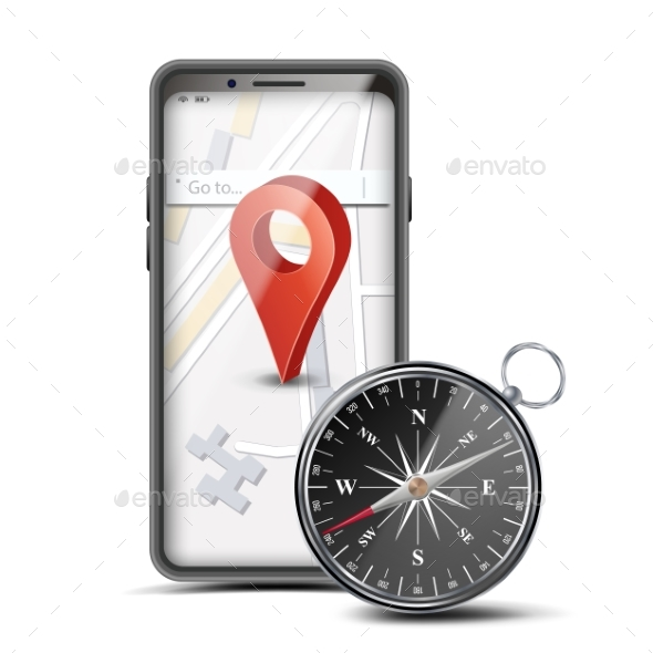 GPS App Concept Vector. Mobile Smart Phone With - Objects Vectors