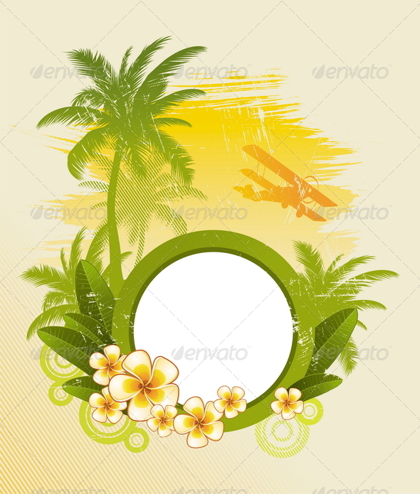 Tropical Design with Round Frame - Travel Conceptual