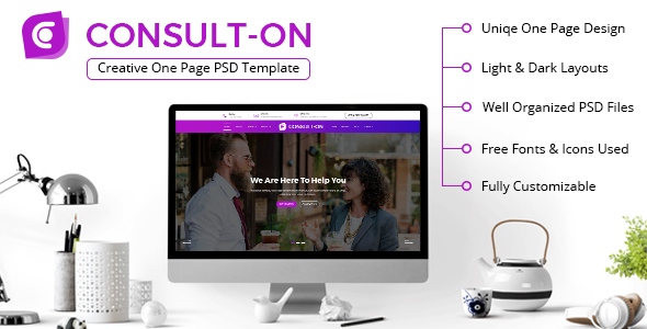 CONSULTON | One Page Business Consulting PSD Template - Business Corporate