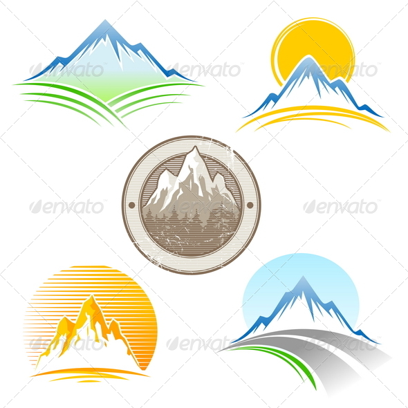 Set of Mountains Emblem - Landscapes Nature