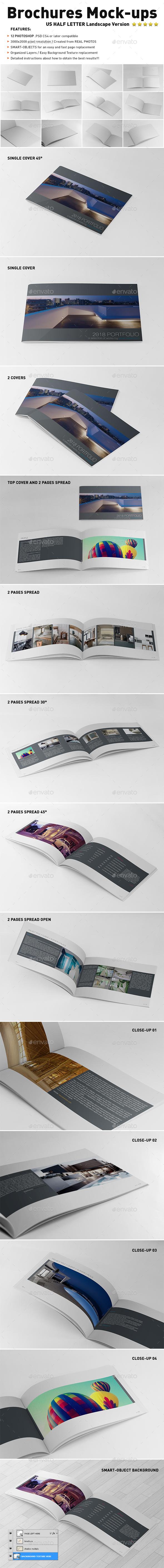 Photorealistic US Half Letter Brochure Mockups - Brochures Print