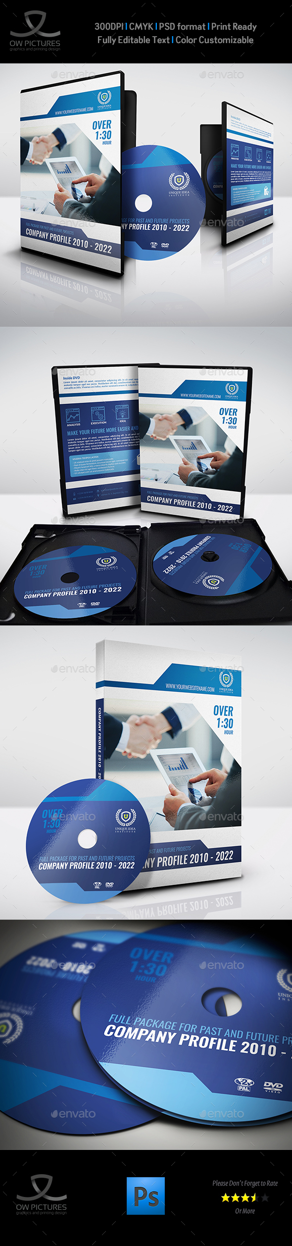 Company Profile DVD Cover and Label Template - CD & DVD Artwork Print Templates