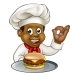 Chef Holding Burger Cartoon Character