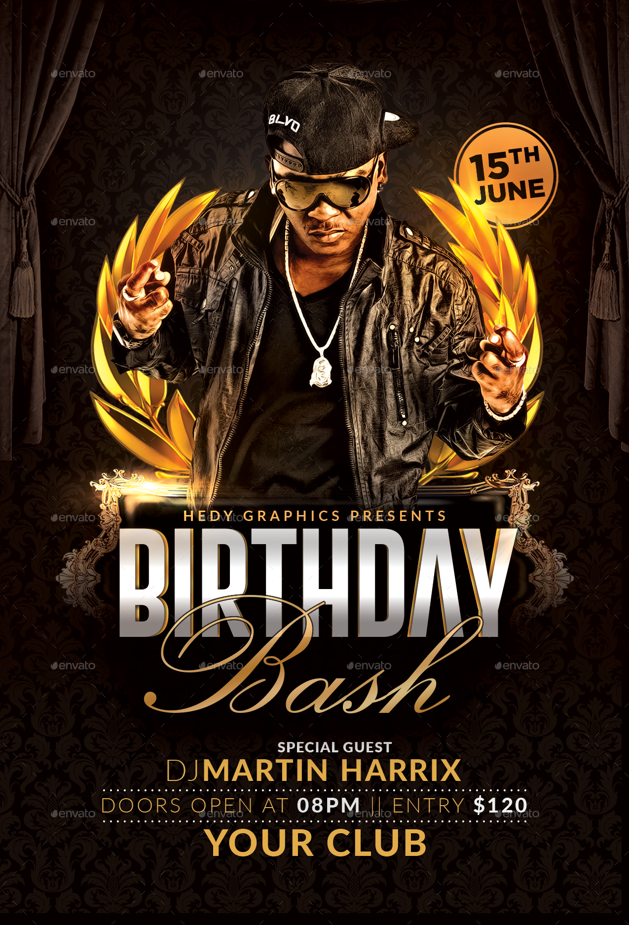 birthday bash flyer by hedygraphics