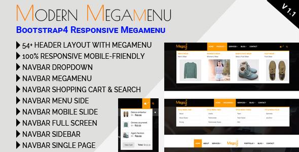 CodeCanyon Modern Megamenu Bootstrap4 Responsive Megamenu 21220360