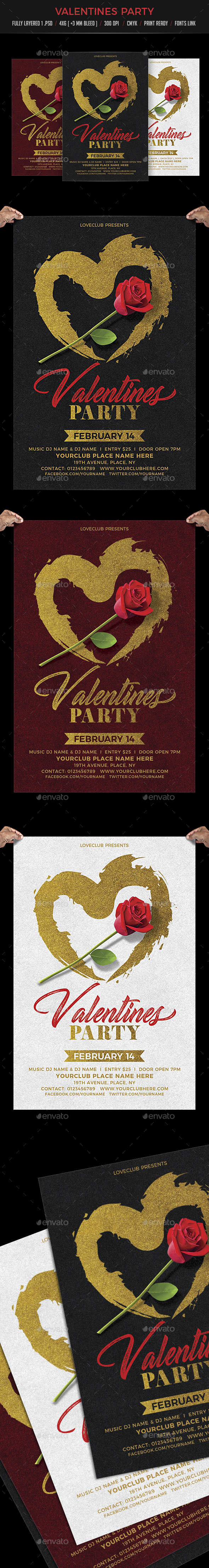 Valentine Day Party Flyer Template - Events Flyers