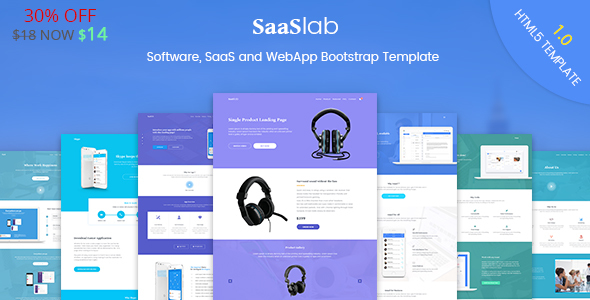 ThemeForest SaaSLab Software SaaS and WebApp Bootstrap Template 20863211