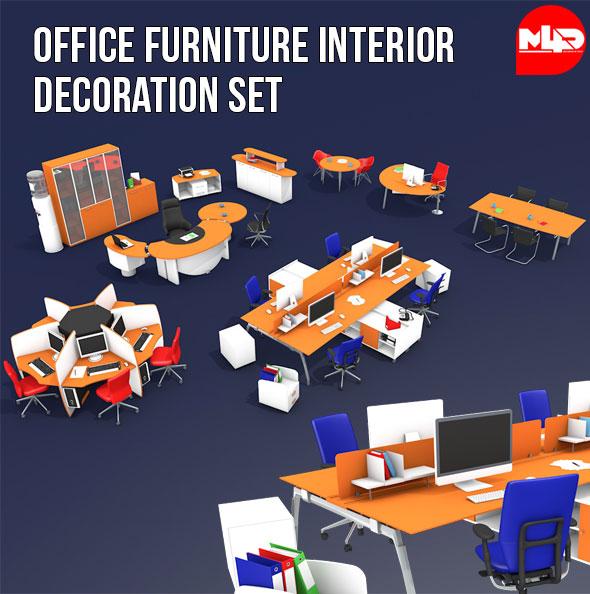 Office Furniture Interior Decoration Set - 3DOcean Item for Sale