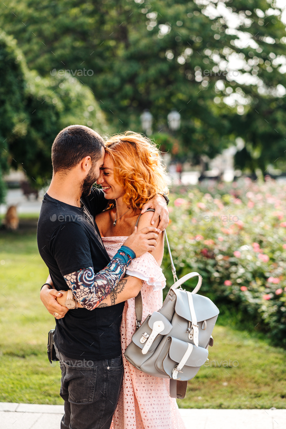 Cute couple in summer park - Stock Photo - Images