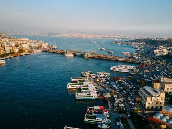 Galata Bridge aerial photography - Stock Photo - Images