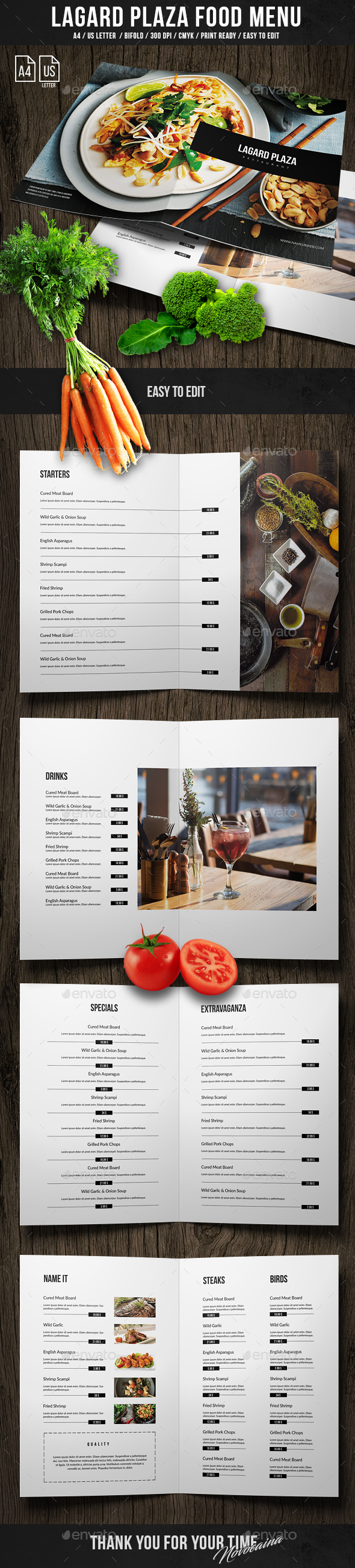 Lagard Plaza Bifold Menu A4 and US Letter - Food Menus Print Templates