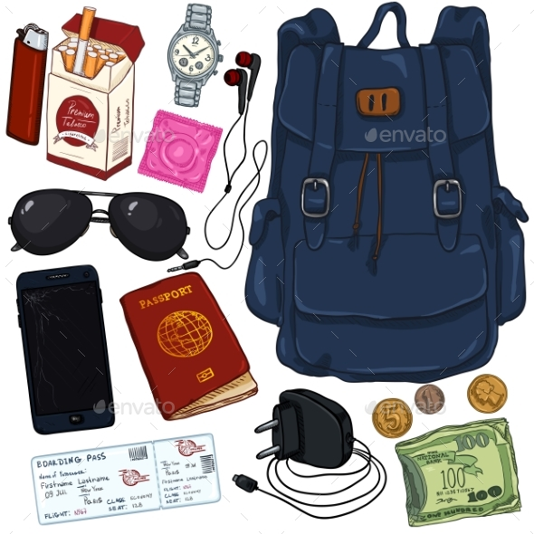 Vector Cartoon Travel Set. Personal Belongings for - Man-made Objects Objects