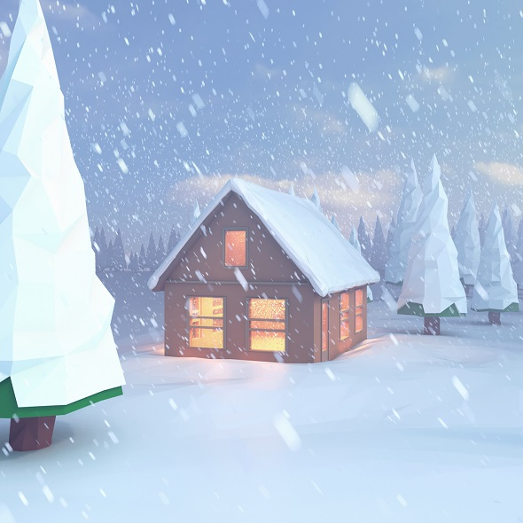 Low poly scene snowy house on the lake - 3DOcean Item for Sale