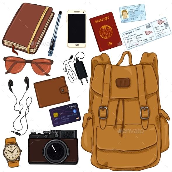 Vector Cartoon Travel Set - Travel Conceptual