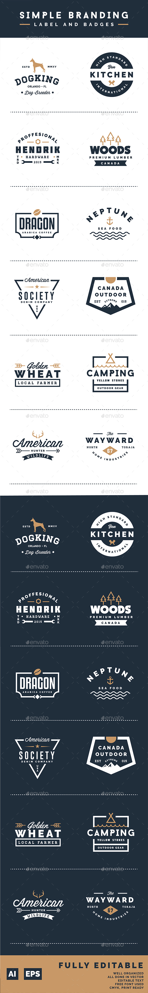 Simple Branding Labels and Badges - Badges & Stickers Web Elements