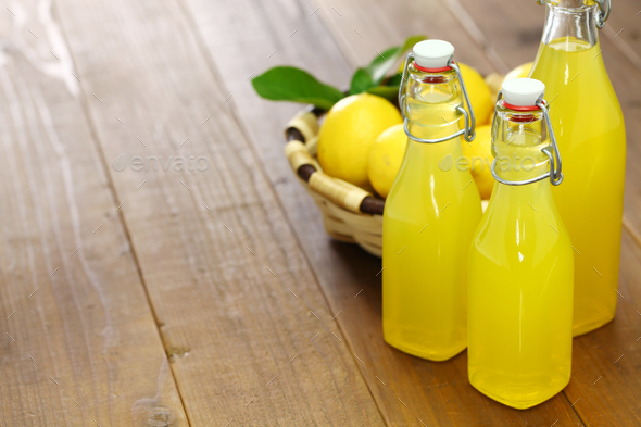 homemade limoncello, italian traditional lemon liqueur - Stock Photo - Images