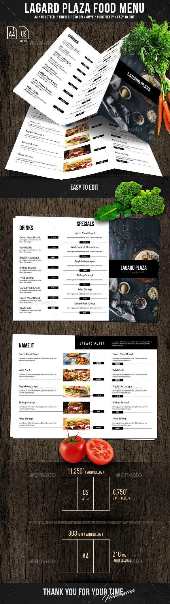 Lagard Plaza Trifold A4 and US Letter Menu - Food Menus Print Templates