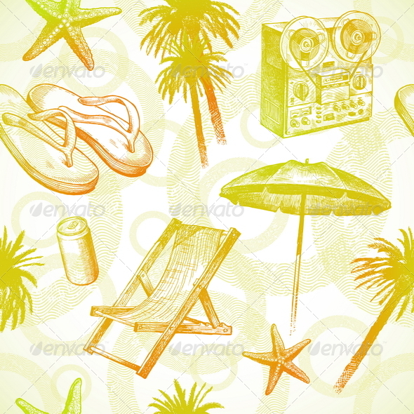 Seamless Hand Drawn Tropical Background - Travel Conceptual