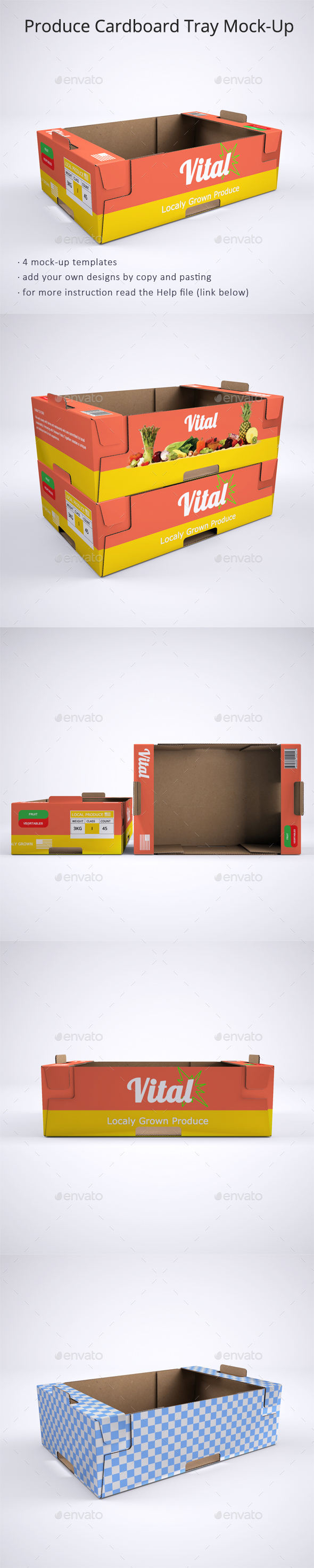 Produce Cardboard Tray or Box Mock-Up - Packaging Product Mock-Ups