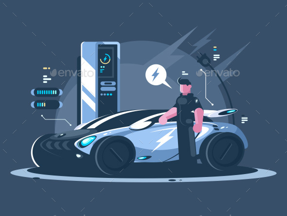 Electric Car and Driver Near Auto - People Characters
