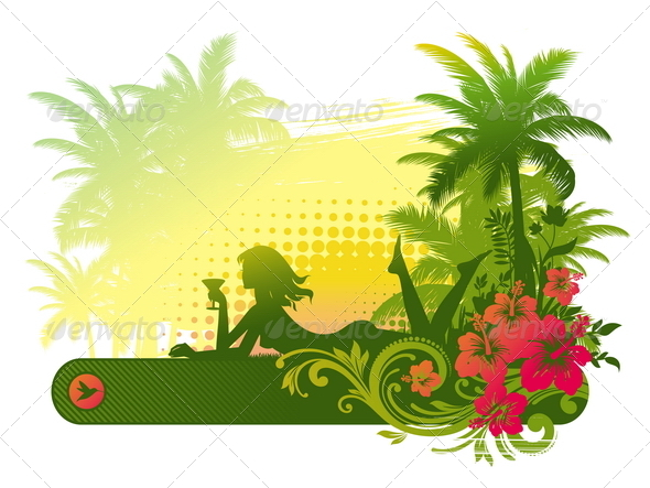 Girl with Cocktail on a Tropical Landscape - People Characters