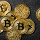 Bitcoin coins on black background - PhotoDune Item for Sale