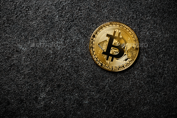 Bitcoin coin on black background - Stock Photo - Images