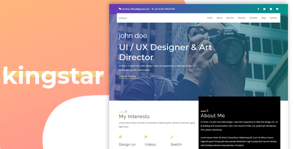 ThemeForest kingstar Personal One Page Template 21076296