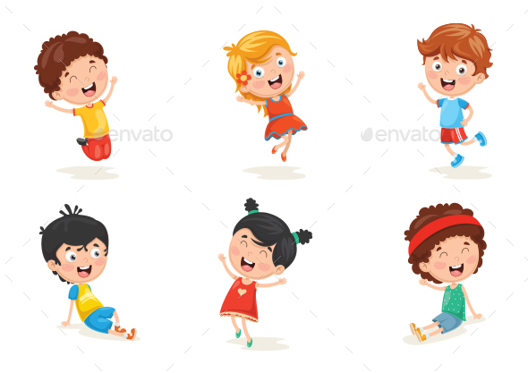Vector Illustration of Happy Kid Characters - People Characters