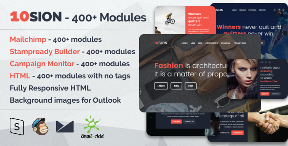 ThemeForest 10SION Responsive Email with Mailchimp Editor StampReady Builder & Online Composer 20299979