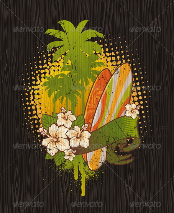 Tropical Surf Emblem Painting on a Wood Board - Sports/Activity Conceptual