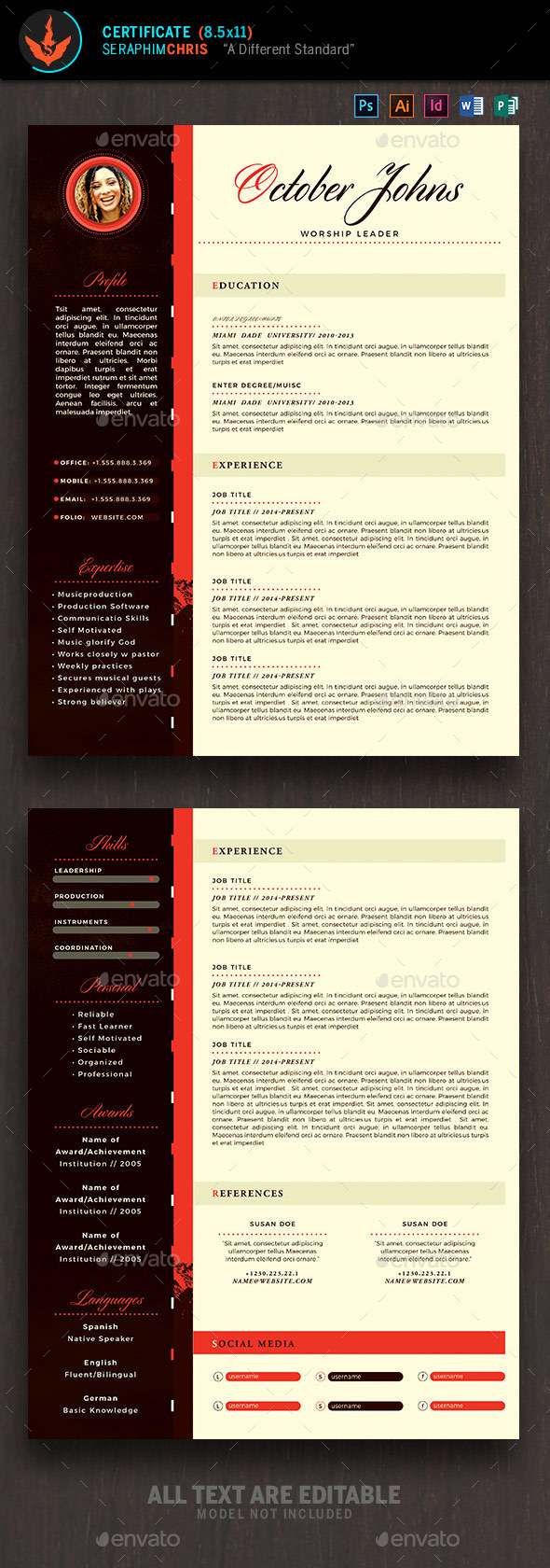 king modern church resume template resumes stationery - Envato Resume Templates