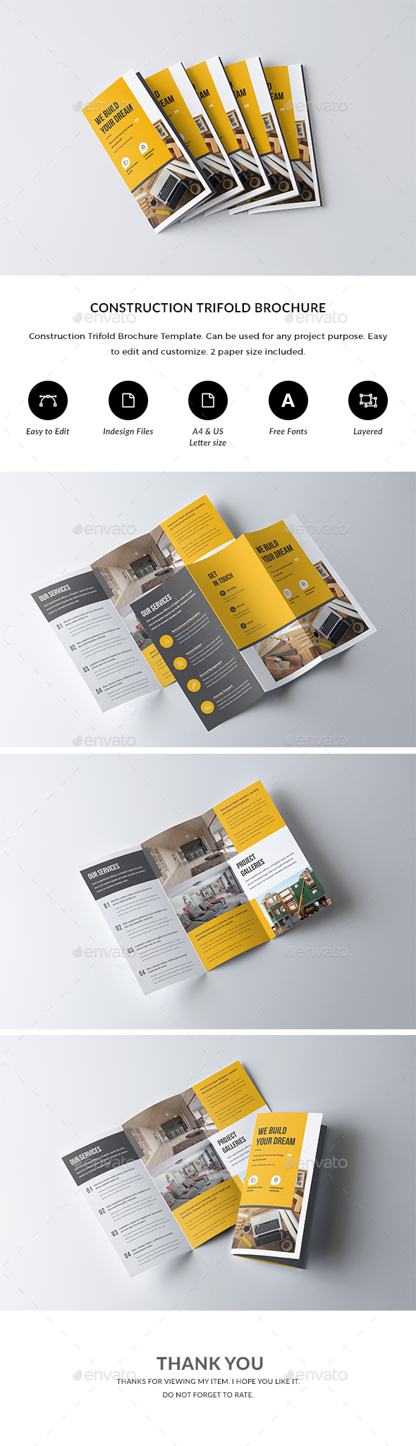 Construction Trifold Brochure - Corporate Brochures