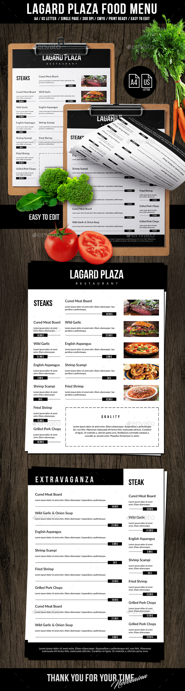 Lagard Plaza A4 and US Letter Single Page Menu - Food Menus Print Templates