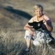 An Elderly Beautiful Woman Stroking a Hunting Dog - VideoHive Item for Sale