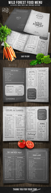 Wild Forest A4 & US Letter Food Menu - Food Menus Print Templates